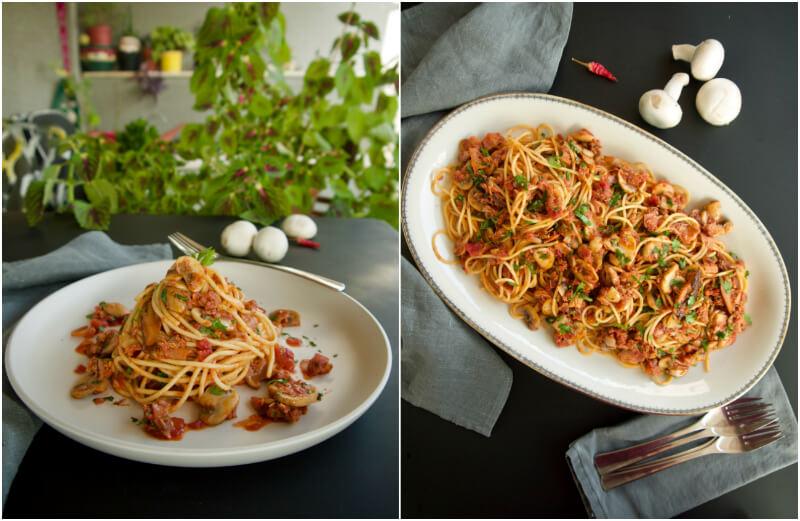 Μακαρονάδα με τόνο και μανιτάρια - spaghetti alla carrettiera