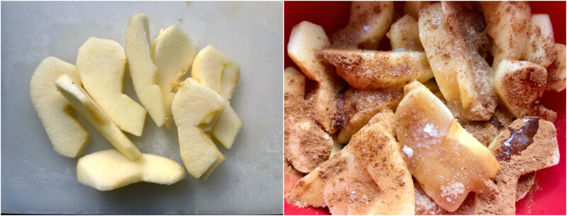Μήλα κομμένα με ζάχαρη, βούτυρο, κανέλα
