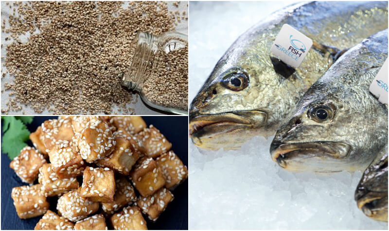 Πηγές για πολυακόρεστα λιπαρά, ω-3 και ω-6: Λίπος των ψαριών και λίπος φυτικών πηγών, όπως ο λιναρόσπορος και η σόγια. Στη φωτό (κάτω αριστ.) τόφου.