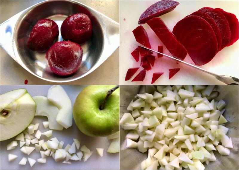 παντζάρια και μήλα ψιλοκομμένα σε τρίγωνα