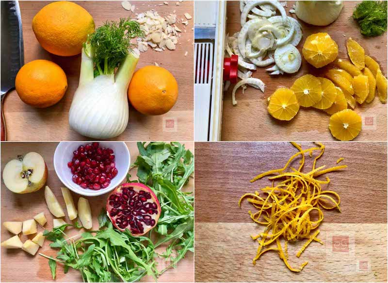 Τα υλικά: Φινόκιο, πορτοκάλι και ξύσμα, ρόκα, μήλο, αμύγδαλα, ρόδι