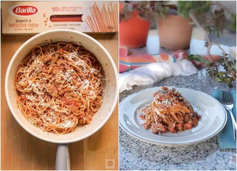 Spaghetti κόκκινης φακής Barilla με κιμά σε γρήγορο ραγού